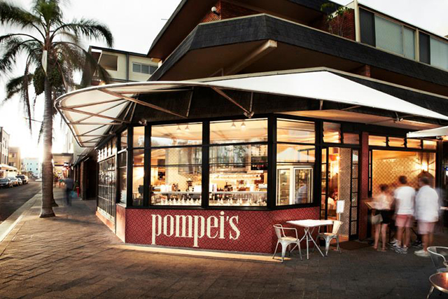 Pompei's, Bondi.  A step across the road from Bondi's famous sandy shores, Pompei's has a family feel but the menu is 100 per cent articulated artisan pizza.
