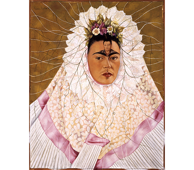 "Frida Kahlo, 'Diego on my mind', 1943. Frida famously said ""I have suffered two serious accidents in my life, one in which a streetcar ran over me... The other accident is Diego.""  For a quarter of a century Frida Kahlo and Diego Rivera were passionate companions. Diego, who was twenty years Frida's senior and already twice divorced, was an incorrigible womaniser. He cheated on Frida multiple times, most notably with Frida's own sister, but her love for him burned too brightly, greater than any affair could extinguish.  Frida started painting Diego on my mind in 1940, the year they were divorced, and finished it in 1943. The image of Diego plastered on her mind indicates her all-consuming and obsessive love for him. She is wearing the traditional Tehuana costume that Diego greatly admired and the roots of the leaves she wears in her hair suggest the pattern of a spider's web in which she seeks to trap her prey, Diego."