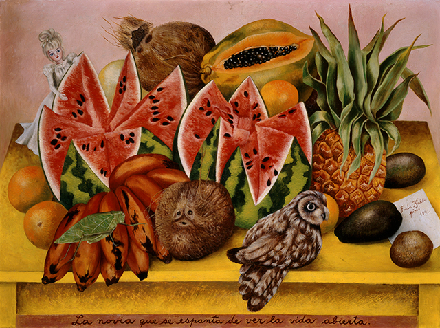 Frida Kahlo, 'The bride who becomes frightened when she sees life opened', 1943. Like most of Frida's work, there a lot more going on than meets the eye and you need to look closer to pick up on the symbolism. This still life contains a lot of sexual innuendo and erotic undertones, with the colour and shape of the fruit suggesting sexual organs, the male genitalia in the bananas and the female genitalia in the open papaya. The bride is that little doll in the corner peeking from the open watermelon, suggesting a new bride who is frightened of being possessed by her husband.