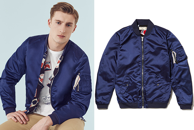 "1. Travel prints from Maison Kitsuné: ""We've worked with Kitsuné on this travel-inspired capsule. The same print runs through on the lining of the bomber and the cap shirt."""