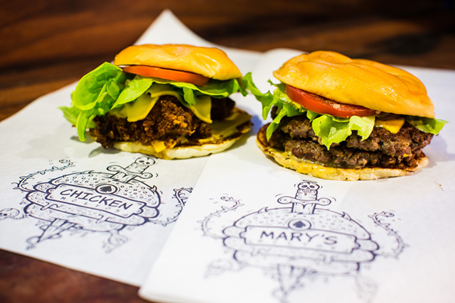 Mary's, Newtown and CBD, Sydney: Rock 'n' roll American diner with brutally good burgers, fried chicken by the yard, and stacks of fries. It's the ultimate man meal mecca.
