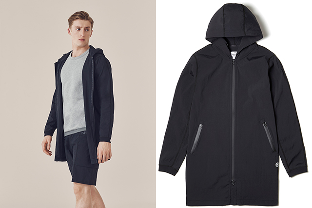 "4. Athleisure from Reigning Champ: ""This Canadian tee and sweats manufacturer use a lot of technical fabrics. This nylon jacket is not completely waterproof but it works as a sort of windbreaker or raincheater because it dries super quick. It's a really good holiday or bumming-around-the-city piece."""