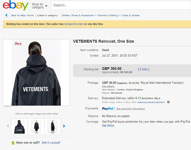 An original Vetements rain jacket on eBay