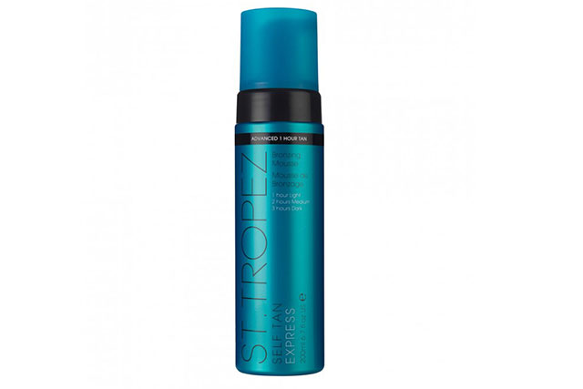 ST. Tropez Self Tan Express Bronzing Mousse, $59.99 sttropeztan.com.au: If you're already a fan of the original, than you'll be head-over-heels for the express version. In just one hour flat, you'll be able to wash this formula off for the same intense, dark shade in a fraction of the time.