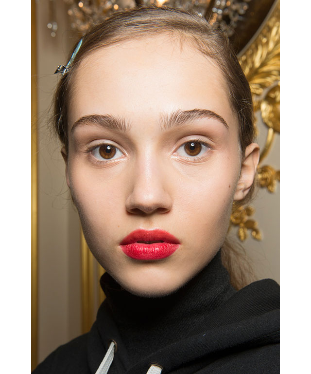 Stained lips: From La Perla's deep-cherry lips (with a hint of purple) or Jason Wu's bright pink pout; bright and powerful lips in red, pink, cherry, or anything in between, made their mark on the runway.