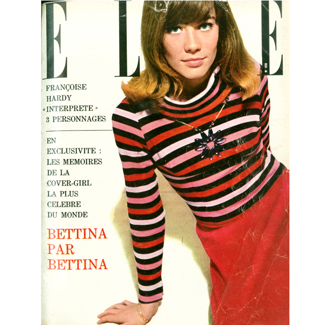 Francois Hardy on the December 1963 cover of Elle in Sonia Rykiel.