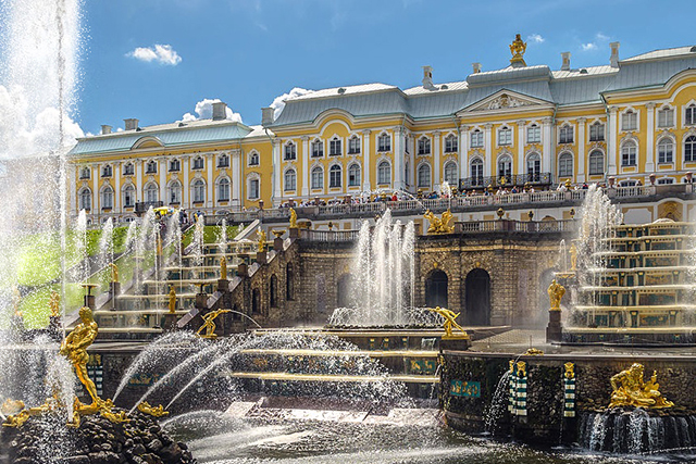 "HISTORY: ""Peterhof is the old summer residence of the Russian Royal Family. Some say it has a resemblance to Versailles."""