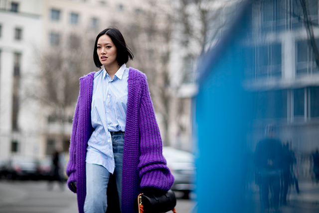 As seen on the Prada A/W'17 catwalks, the cardigan is back. Bonus points for big proportions.