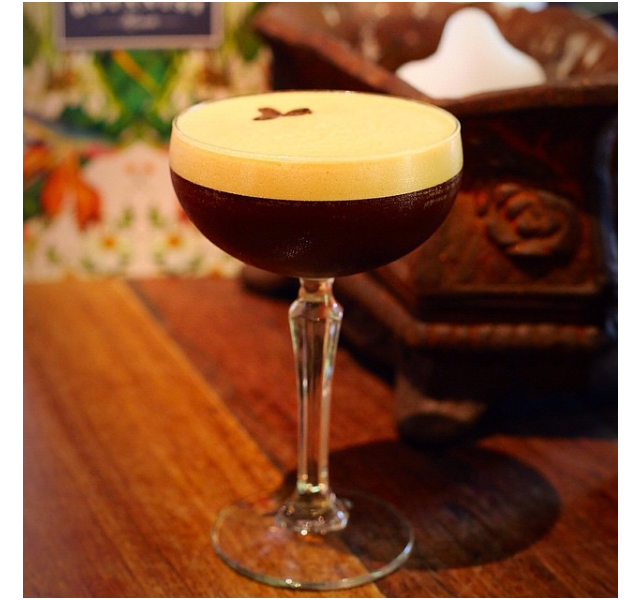 Vanilla Espresso Martini (house-infused vanilla bean Absolut vodka with Kahlua and fresh espresso), The Botanist Kirribilli.
