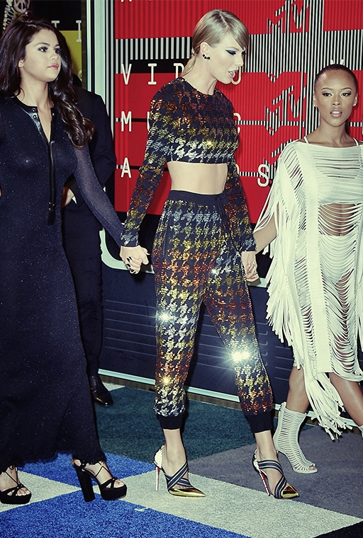 With Taylor Swift and Serayah McNeill. August 2015