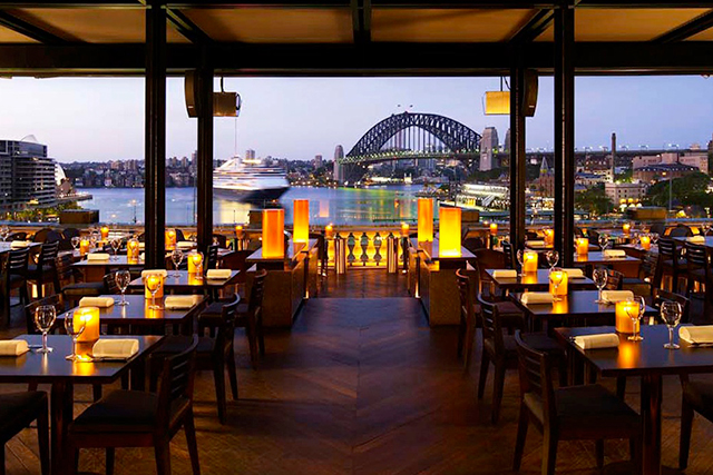 Café Sydney, Sydney. The gun barrel view of stunning Sydney Harbour from classy fine diner Café Sydney will have even the most hardened hearts getting the lightning-bolt memo.