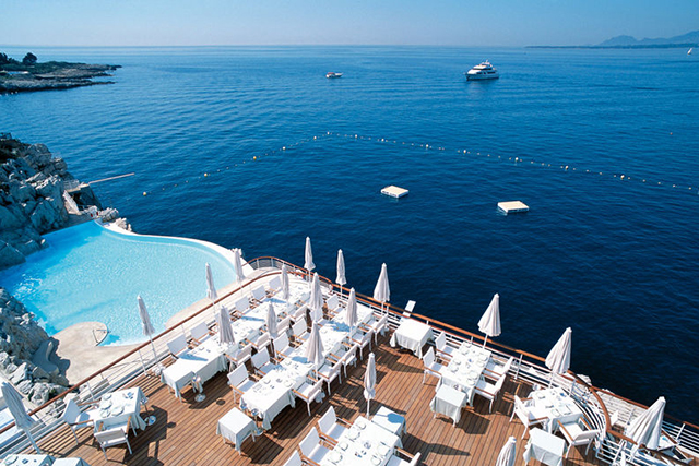 Eden-Roc Grill and Bar, Cap d'Antibes, France. The French really know what they're talking about when it comes to food, fashion and views. Eden-Roc Grill and Bar on the Cap D'Antibes exemplifies French Riveria chic in a dining destination.