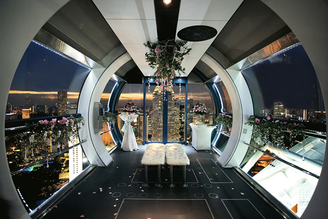 Singapore Flyer, Singapore. London may have its spinning wheel of fun (The London Eye), but Singapore ups the ante with dining on their luxe enclosed ferris wheel. Perfect pacing ensures no motion sickness on the menu.