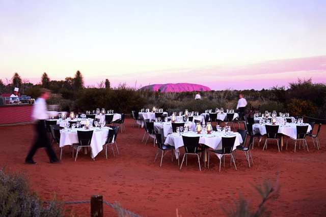Sounds of silence, Uluru, Australia. When your dining companion is the reddest rock on the plant, you've hit the pay dirt of cool dining spaces. The menu is bush tucker focused for true outback style immersion.