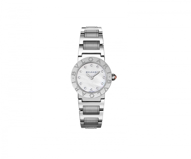 Bulgari-Bulgari watch with 26mm steel case, mother of pearl white dial, steel bracelet and diamonds