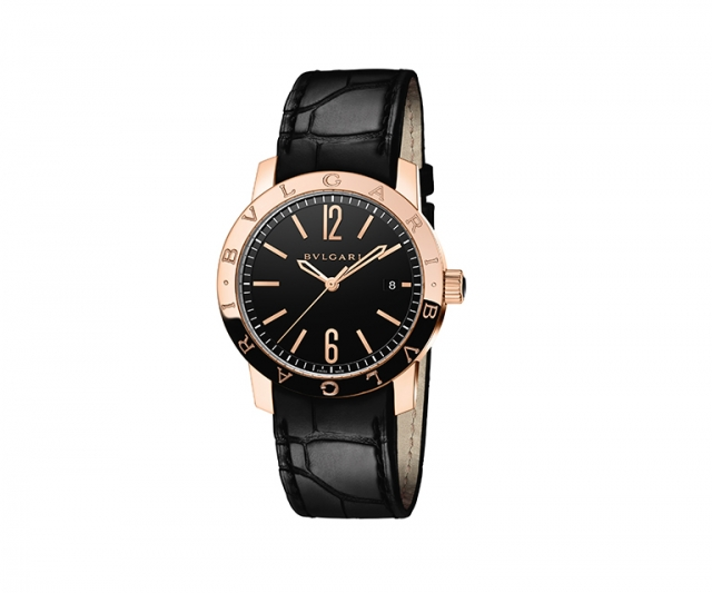 Bulgari Bulgari watch with 39mm pink gold case, black alligator bracelet, water resistant 50m