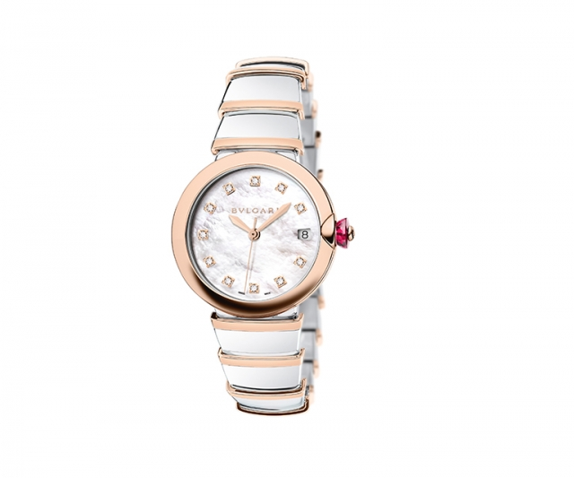 Lucea watch with 36mm steel gold case, mother of pearl dial with diamond stones