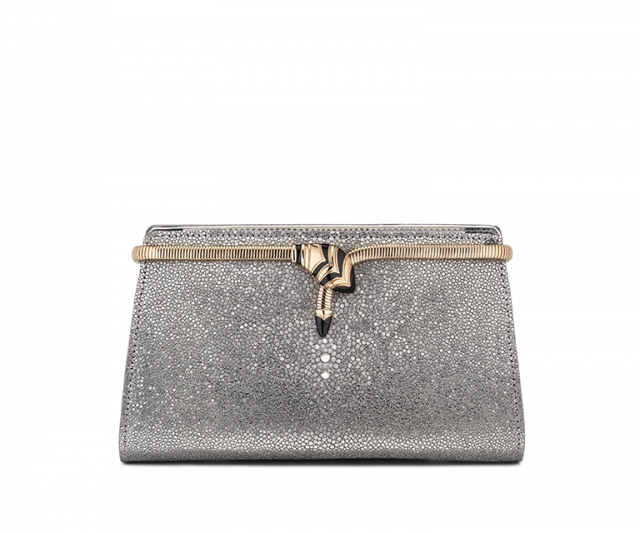 Bulgari Cocktail clutch in Galuchat Mirage Shiny Silver/Brushed Metallic calf leather, $3710