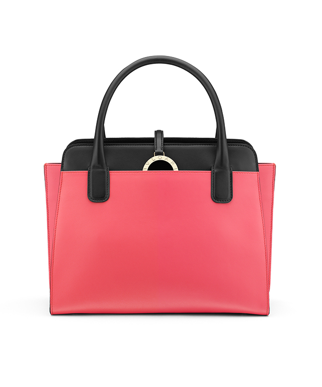 Bulgari top handle handbag in calf reef coral/calf black/light gold, $2700