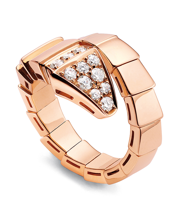 Serpenti pink gold ring with pavé diamonds, $8150