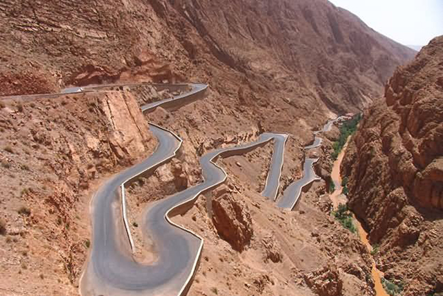 Atlas Mountain Road, Morocco: Not for the faint-hearted, this track has been likened to a Formula 1 circuit, but the sweeping vistas of the Atlas Mountains and passage through the Ouarzazate dessert make it worth it – provided you survive.