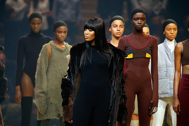 Naomi Campbell in the Yeezy Season 3 show
