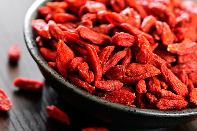 Goji berries. China's biggest secret, but not anymore. This small berry is high in beta carotene which is great for skin. It's also high in vitamin C, calcium, zinc and selenium, and is a great snack to have on hand at all times.