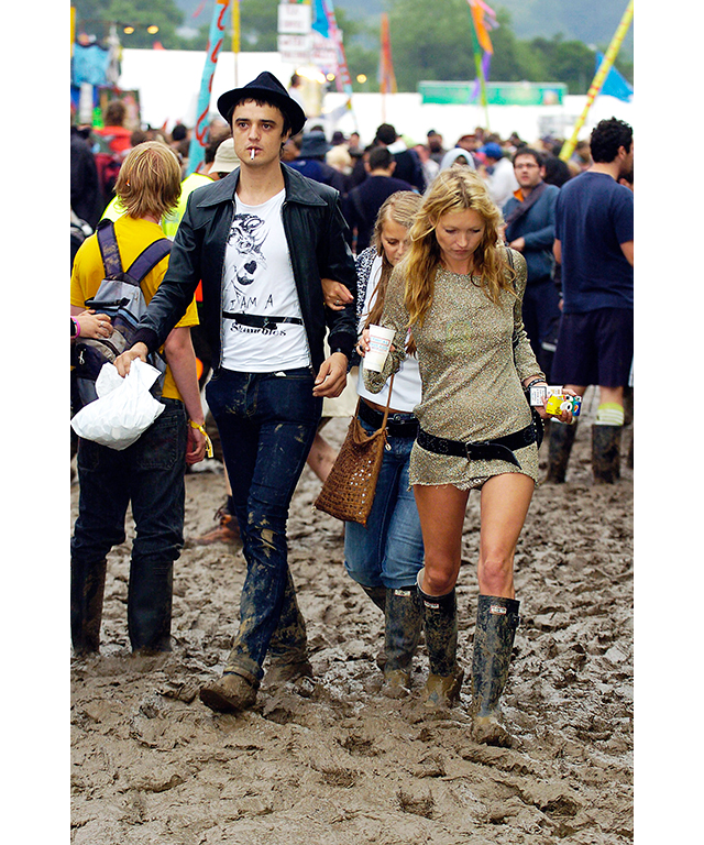 Pete Doherty and Kate Moss at Glastonbury festival, 2005