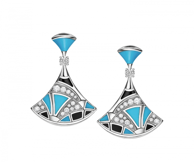 Diva white gold earrings with onyx, tourquoise and pavé diamonds, $15,400