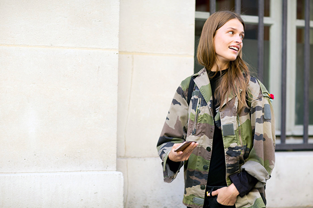 Camo anything: military-style jackets are particularly on point.