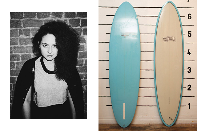 "Diana Pashkovskaia, producer: Takayama Flo Egg 6'10"" surfboard by Donald Takayama: Usually I like to ride on 8'0"" surfboards, but there are days when there's nothing better than a shortboard. This one will do nicely."
