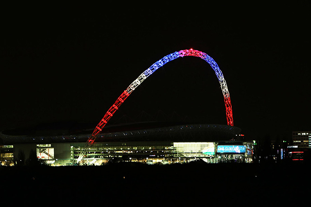 The arch of Wembley Stadium, London, England