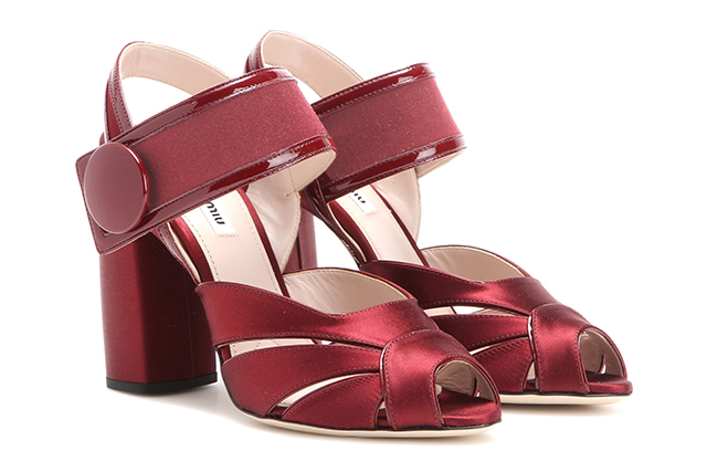 Miu Miu satin sandals: I'm a sucker for this rich wine colour and a block heel is always a (comfortable) bonus.