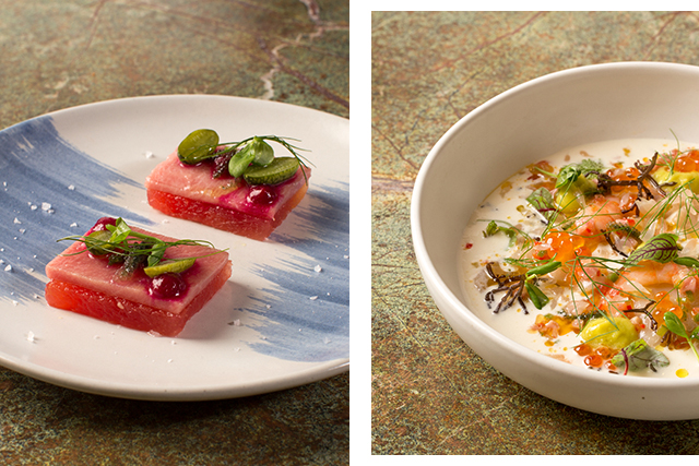 Left: Atun Rojo (tuna belly, watermelon, beetroot, pickled cucamelon); right: Salpicon (chilled seafood salad, avocado puree, ajo blanco)