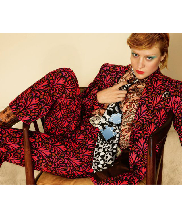 Miu Miu's A/W '12 campaign directly referenced Bowie's styling, with Chloe Sevigny replicating his androgynous look and penchant for pattern.