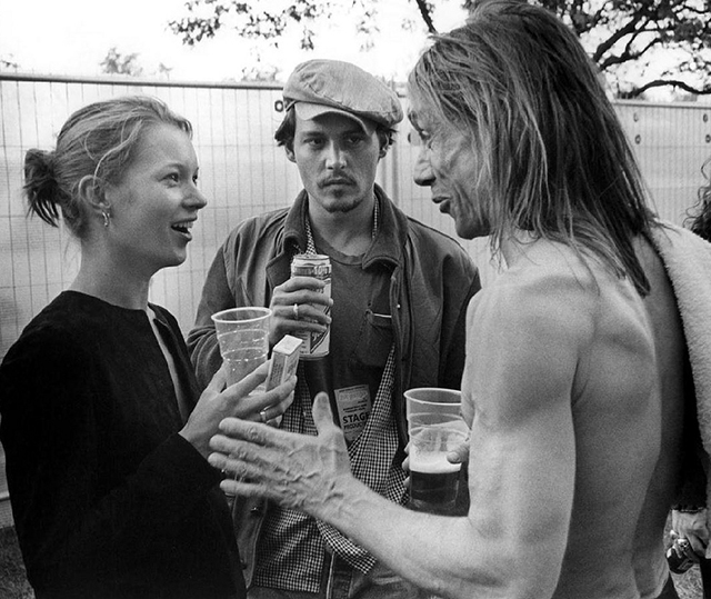 Kate Moss, Johnny Depp and Iggy Pop in Finsbury Park, London, 1996