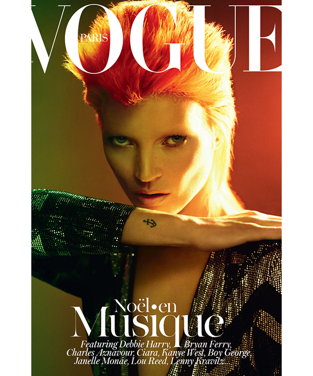 Out of all the celebrities to emulate Bowie, none are more recognisable than Kate Moss's (a friend of the star) transformations for Vogue in 2003 and 2011.