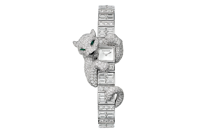Cartier Baguette Panther 18-carat white gold and diamond watch, POA
