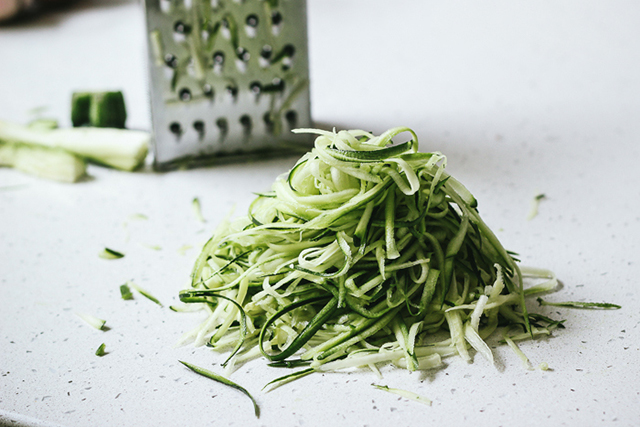Noodles or rice with stir fries > Use a spiraliser (or similar) to make noodles out of vegetables like carrots and zucchini, or consider slender noodles, bean sprouts or lots of chopped cabbage.