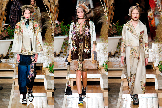 Antonio Marras: Inspired by an ill-fated 19th century love story, Marras' collection seemed to be mourning love lost with a sense of madness and eccentricity. Patchworked furs and fine fabrics were layered dramatically, accented with whimsical detail.