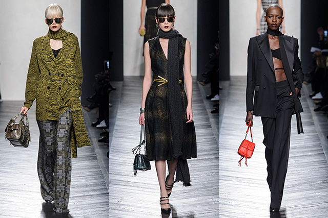 Bottega Veneta: Slightly more grounded and sober in mood, this collection featured precision tailoring and knee-length dresses. With a retro elegance (bouncing somewhere between '50s and '70s references) this was a collection for modern sophisticate.