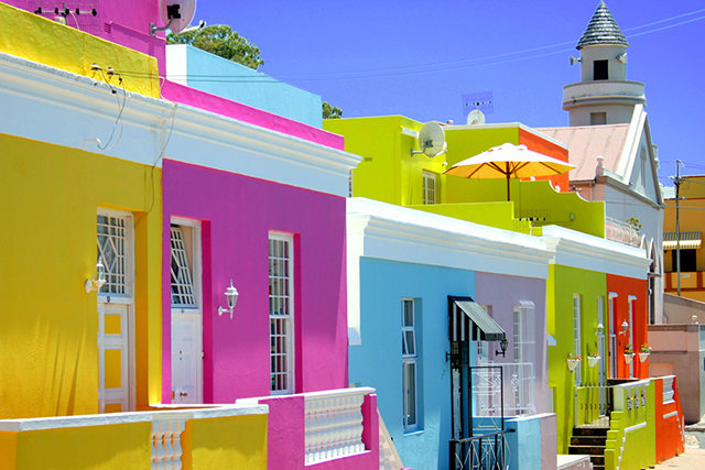 Bo-Kaap, Cape Town, South Africa: Cobblestoned streets and colour-saturated houses are on form in this multi-cultural neighbourhood of Cape Town.