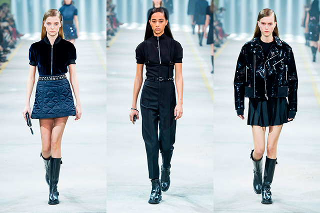 Diesel Black Gold: Returning to Milan after 7 years at NYFW, Diesel presented a predictably urban collection with a fresh, prim and polished update. Utilitarian basics, A-line shapes and classic styles were seen in a clean palette of navy, black and white