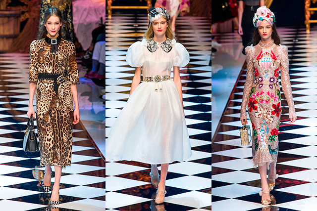 Dolce & Gabbana: Catering to the Disney-raised values in us all, Dolce presented a suitably fantastical collection inspired by fairytales and princesses. Glitter, embroidered mice, teddy bears, enchanted mirrors and more featured across almost 100 looks.