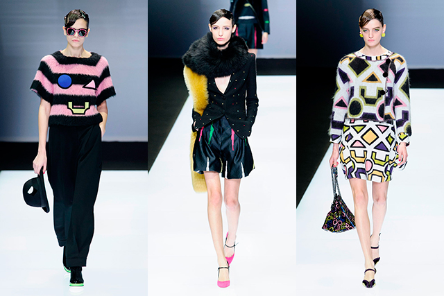 Emporio Armani: Armani goes pop! With brightly-coloured, geometric shapes and graphic prints sprinkled through an '80s-inspired collection, the younger sister label to Giorgio Armani was playful, daring and party-ready.