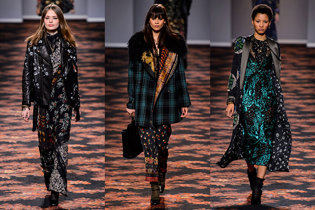 Etro: Also like something of a travelling gypsy in tone, Etro's combined, piled-on aesthetic looked as though sourced from the far reaches of the globe before being thrown together backstage in a '90s, band-on-tour kind of way.