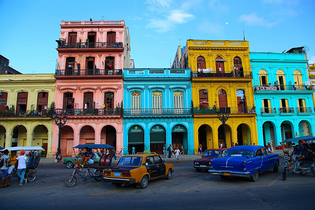 Havana, Cuba: Paint by numbers colourful architecture and rockin' good times are found in downtown Havana.