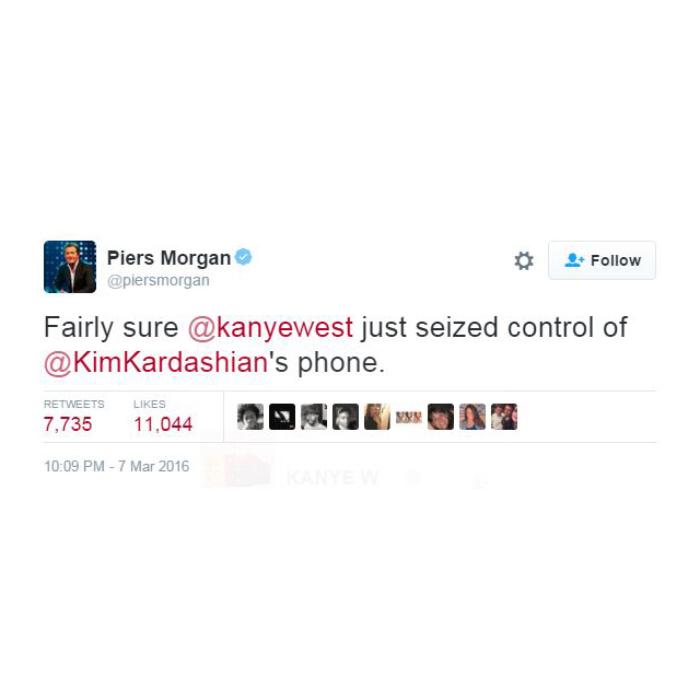 And then Piers got confused, and was all like, 'Is this really Kanye?'. (You can understand his mistake.)