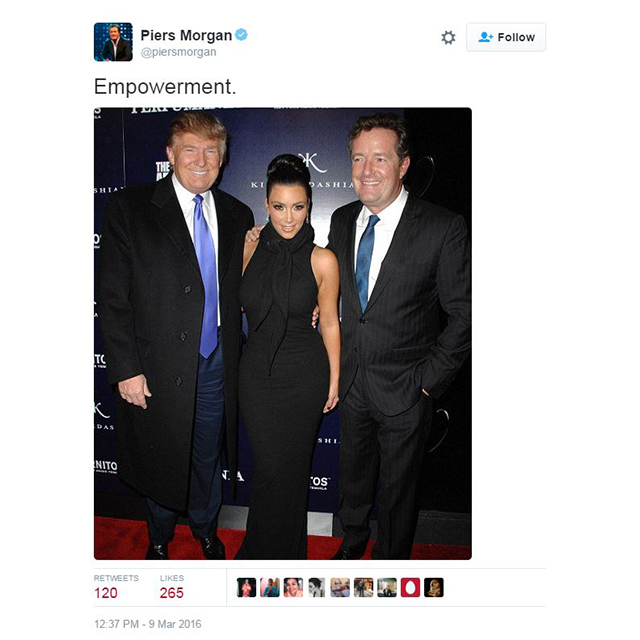 Then he tweeted a mystifying shot of himself, Donald Trump and Kim, and titled it 'Empowerment.' Hmmm.
