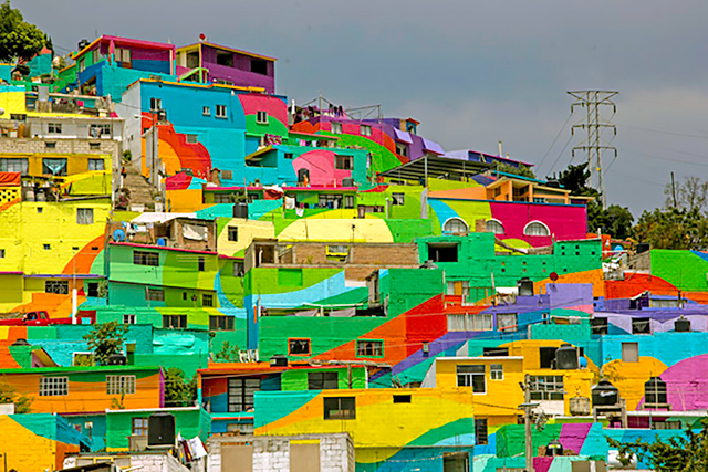 Las Palmitas, Mexico: In 2015 a crew of artists turned this low-income 'hood into a mural of multiple hues, proving everything is better in colour.